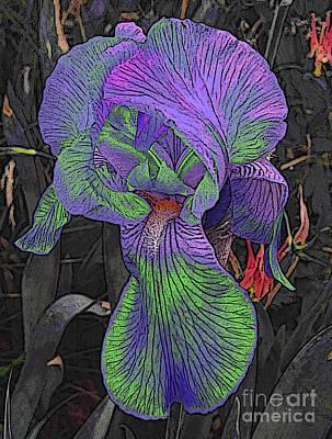 Digital Art - Neon Iris Dark Background by Conni Schaftenaar