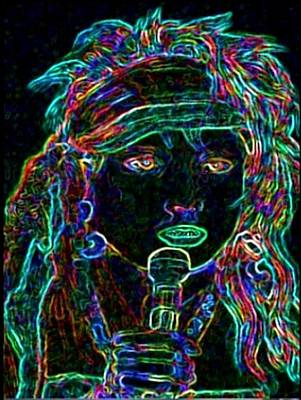 Neon Lady Print by Jerry  Stith