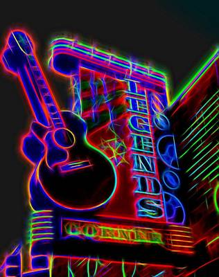 Johnny Cash Mixed Media - Neon Legends Corner Nashville by Dan Sproul