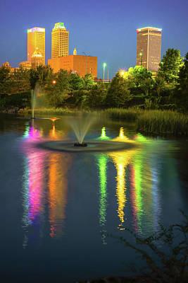 City Scenes Photograph - Neon Lights Of The Tulsa Skyline - Oklahoma Usa by Gregory Ballos