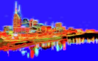 Skylines Mixed Media - Neon Nashville by Dan Sproul