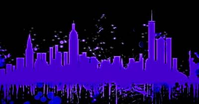 Skylines Mixed Media - Neon New York City Skyline by Dan Sproul