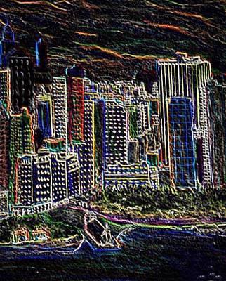 Digital Art - Neon Night In New York City by Anne Sands
