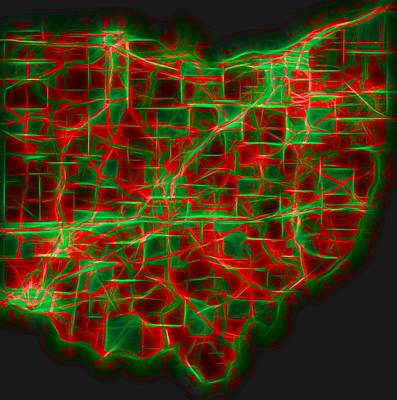 Cincinnati Mixed Media - Neon Ohio Map by Dan Sproul