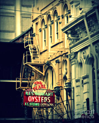 Neon Oysters Sign Art Print by Perry Webster
