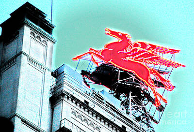 Neon Pegasus Atop Magnolia Building In Dallas Texas Art Print