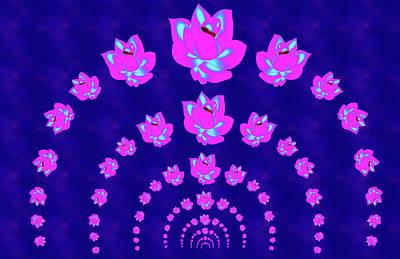 Neon Pink Lotus Arch Art Print
