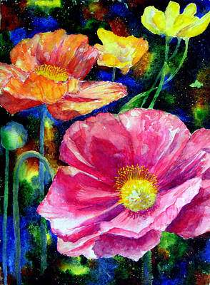 Neon Poppies Art Print by Mary Giacomini