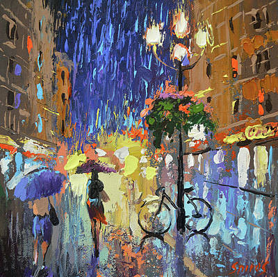 Painting - Neon Rain by Dmitry Spiros