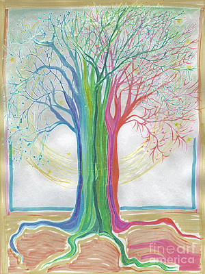 Drawing - Neon Rainbow Tree By Jrr by First Star Art