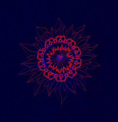 Mixed Media - Neon Red And Royal Blue Floral Mandala by Samantha Thome