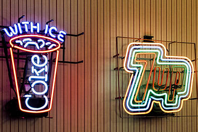 Seven-up Sign Photograph - Neon Refreshments by Jon Berghoff
