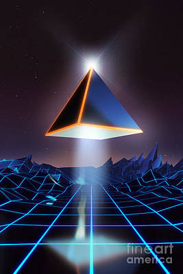 Pyramids Digital Art - Neon Road  by Pixel Chimp