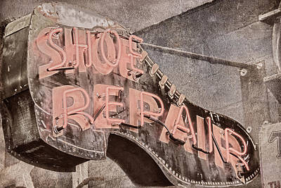Photograph - Neon Shoe Repair by Pamela Williams