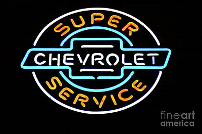 Photograph - Neon Sign Chevrolet by Bob Christopher