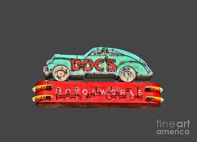 Doc Painting - Neon Sign Docs Austin Texas Tee by Edward Fielding