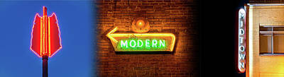 Photograph - Neon Sign Light Trio Panoramic Collage by Gregory Ballos