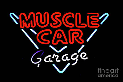 Stock Muscle Photograph - Neon Sign Muscle Car Garage by Bob Christopher