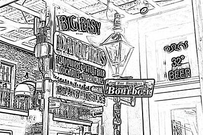 Neon Sign On Bourbon Street Corner French Quarter New Orleans Black And White Photocopy Digital Art Art Print by Shawn O'Brien