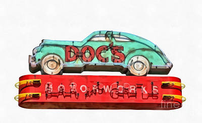 Grill Painting - Neon Sign Series Docs Austin Texas by Edward Fielding