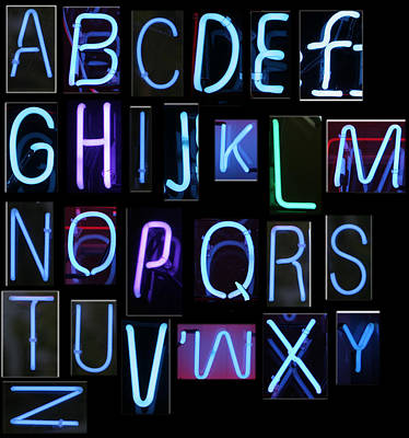 R.i.p Photograph - Neon Sign Series Featuring The Alphabet In Blue by Michael Ledray