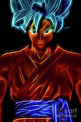 Digital Art - Neon Ss God Goku by Ray Shiu