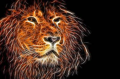 Photograph - Neon Strong Proud Lion On Black by John Williams