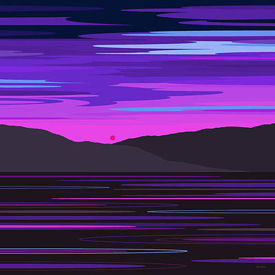 Digital Art - Neon Sunset Reflections by Val Arie