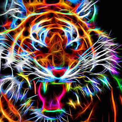 Beast Digital Art - Neon Tiger by Andreas Thust