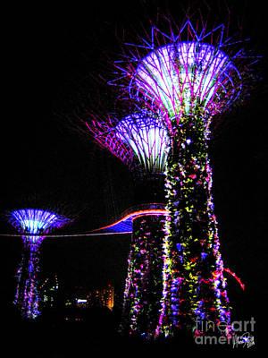 Lightshow Photograph - Neon Treescape by Alina Davis