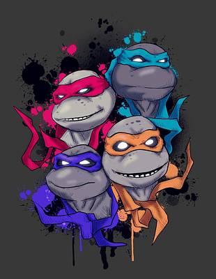 Reptiles Mixed Media - Neon Turtles by Ludwig Van Bacon