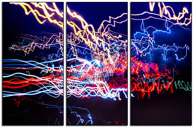 Photograph - Neon Ufa Triptych Number 1 by John Williams