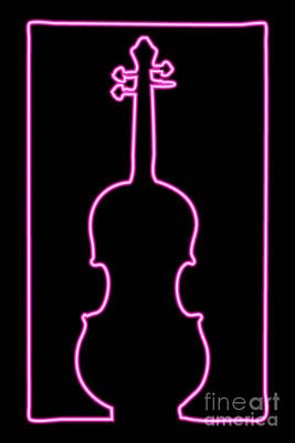Digital Art - Neon Violin by Benjamin Harte