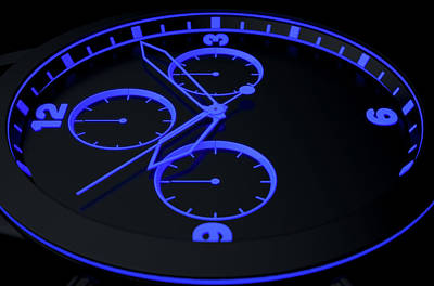 Numbers Digital Art - Neon Watch Face by Allan Swart