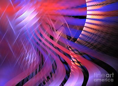 Digital Art - Neon Waves Red by Kim Sy Ok