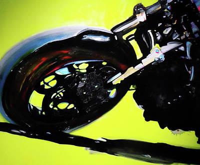Motogp Painting - Neon Yellow by David Jack