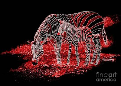 Painting - Neon Zebra And Foal by Frank Townsley