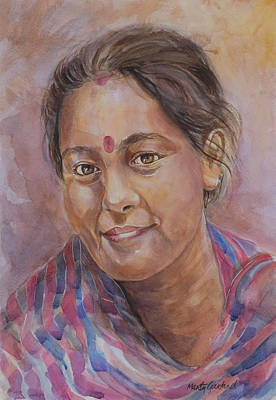Painting - Nepal Girl 6 by Marty Garland