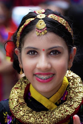 Photograph - Nepalese Day Nepalese Girk In Traditional Dress by Robert Ullmann