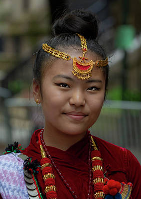 Photograph - Nepalese Day Nyc 2018 Girl In Traditional Dress by Robert Ullmann