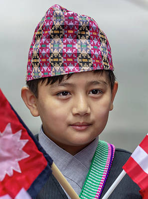 Photograph - Nepalese Day Nyc 2018 Nepalese Boy With Flags by Robert Ullmann