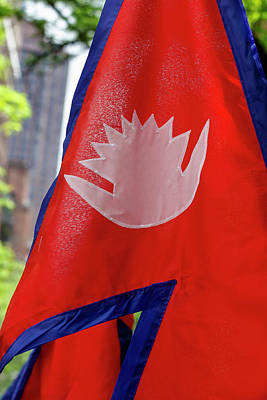 Photograph - Nepalese Day Nyc 2018 Nepalese Flag by Robert Ullmann