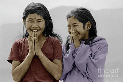 Photograph - Nepali Girls Namaste Greeting - Himalayas by Craig Lovell