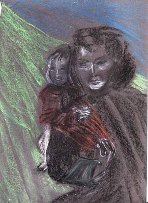 Nepali Painting - Nepali Womancarrying Baby by Duygu Kivanc