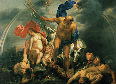 Neptune And Amphitrite In The Storm Art Print by Jacob Jordaens