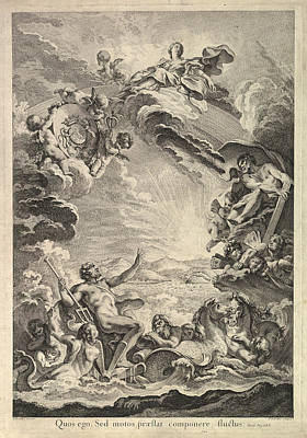 Drawing - Neptune Calming The Storm by Pierre-Alexandre Aveline