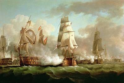 Frigates Painting - Neptune Engaging Trafalgar by J Francis Sartorius