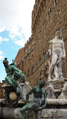 Photograph - Neptune, Florence, Italy by Judith Rhue