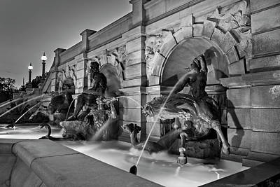 Horse Photograph - Neptune Fountain In Black And White by Greg Mimbs