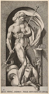 Drawing - Neptune by Giovanni Jacopo Caraglio